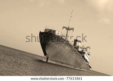 Picture of an Old Wreck in the Port of Arrecife, Atlantic Sea (Lanzarote Island Spain) - stock photo