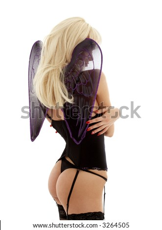 picture of angel in black lingerie over white - stock photo