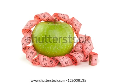 Picture of apple and tape measure on the green background