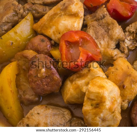 Picture of Assorted different kinds of meat in lemon sauce, Milos Island, Greece - stock photo