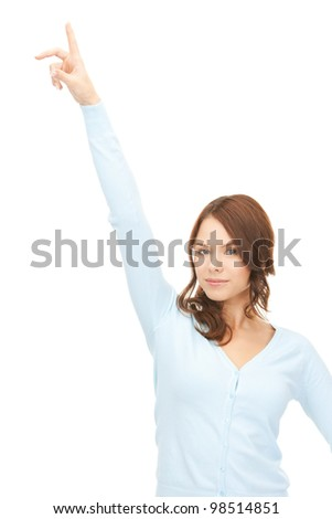picture of attractive businesswoman pointing her finger.