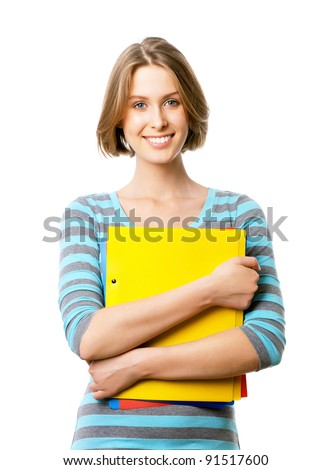 Picture of attractive businesswoman pointing her fingers - stock photo