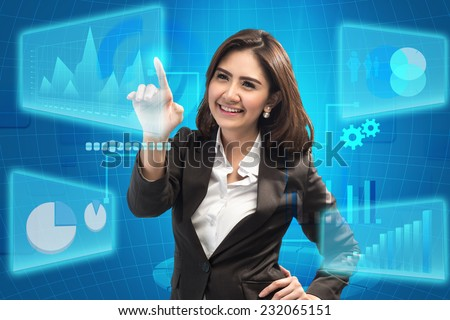 picture of attractive businesswoman touching virtual screen - business concept  - stock photo