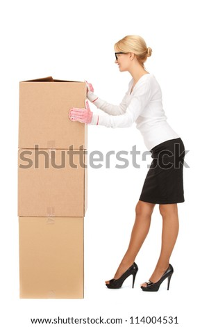 picture of attractive businesswoman with big boxes..