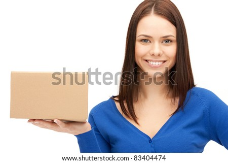 picture of attractive businesswoman with cardboard box - stock photo