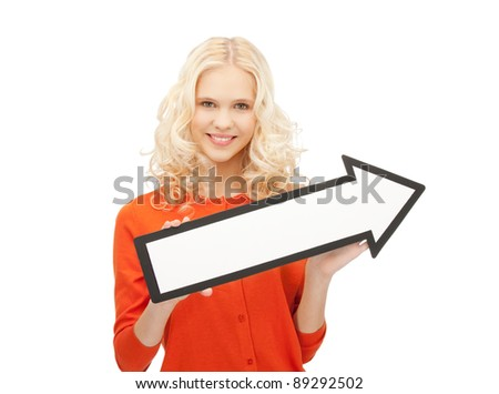 picture of attractive businesswoman with direction arrow sign - stock photo