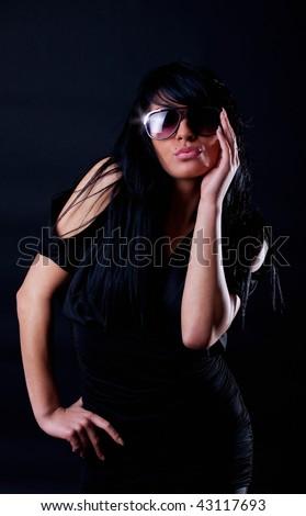 Picture of attractive glam dreamy brunette - stock photo