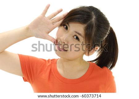 picture of attractive young woman open  her finger