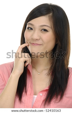 picture of attractive young woman pointing her finger