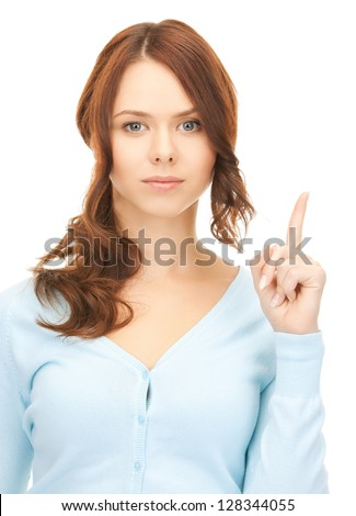 picture of attractive young woman with her finger up..