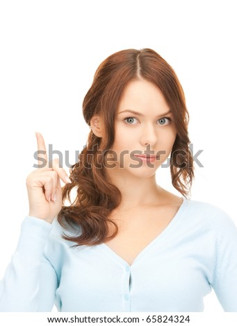 picture of attractive young woman with her finger up