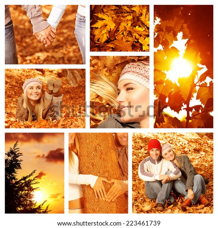 Picture of autumn fun outdoor, collage of autumnal leisure time outside, happy couple in autumnal park, bright yellow sun shine, beautiful fall forest, orange sunset, love concept in autumn - stock photo