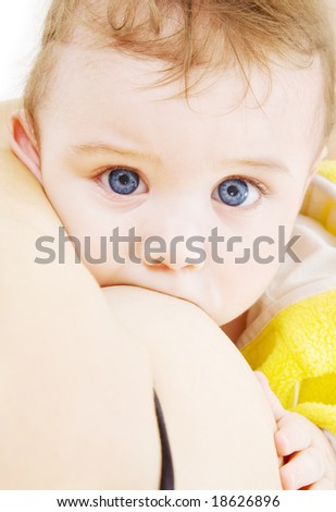 picture of baby boy sucking from mother breast - stock photo