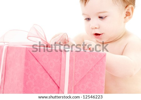 picture of baby boy with big gift box