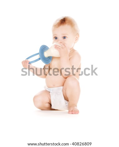 picture of baby boy with big pacifier over white