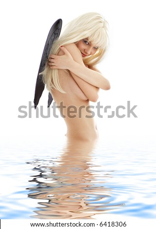 picture of bathing angel with black wings over white - stock photo