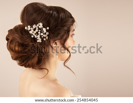 Picture of beautiful bride hairstyle - stock photo