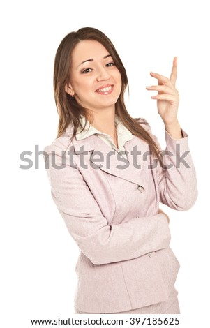 Picture of beautiful businesswoman in suit isolated on white - stock photo