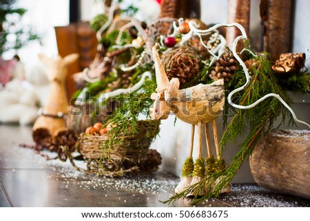Picture of beautiful christmas interior decor. X-mas or New Year concept.