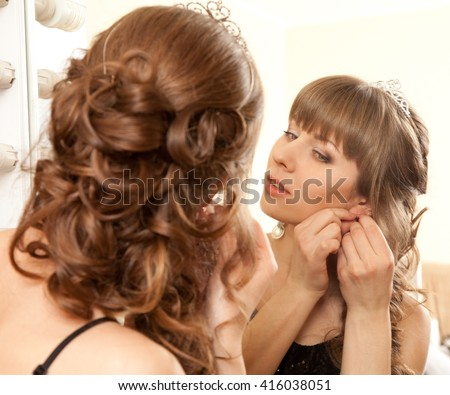 Picture of beautiful girl be going to prom - stock photo