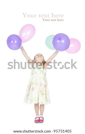 Picture of beautiful little girl with colorful balloons in her hands over white - stock photo