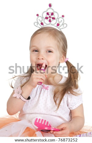 Picture of beautiful little girl with lipstick over white - stock photo
