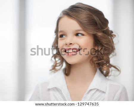 picture of beautiful pre-teen girl at home - stock photo