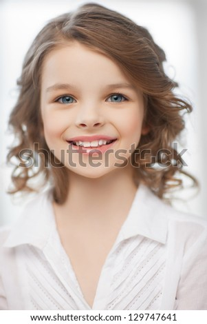 picture of beautiful pre-teen girl at home