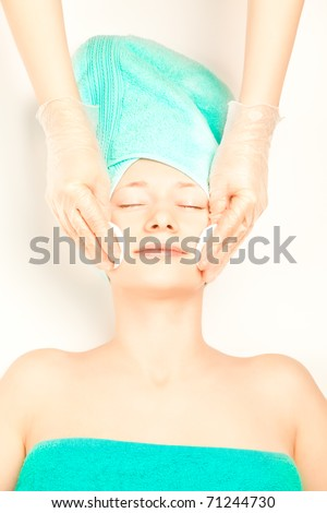 Picture of beautiful woman at spa procedures - stock photo