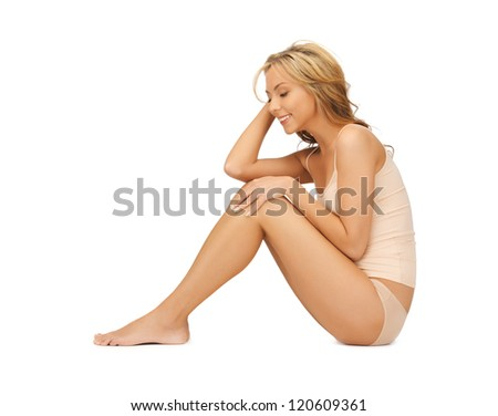 picture of beautiful woman in cotton undrewear - stock photo