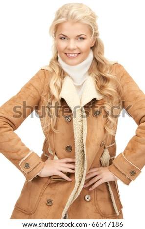 picture of beautiful woman in sheepskin jacket - stock photo