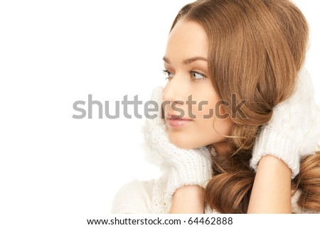 picture of beautiful woman in white gloves - stock photo