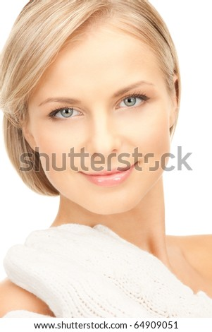 picture of beautiful woman in white mittens - stock photo