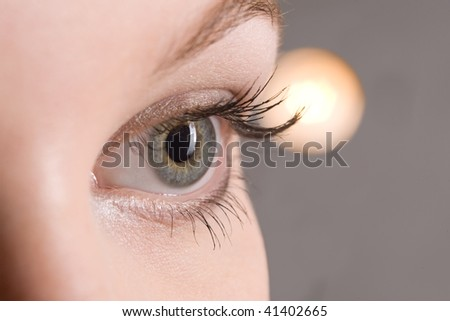 picture of beautiful woman open eye closeup - stock photo