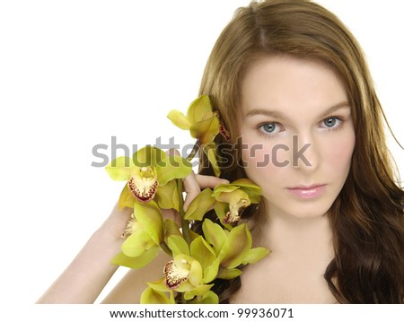 picture of beautiful woman with branch orchid flower