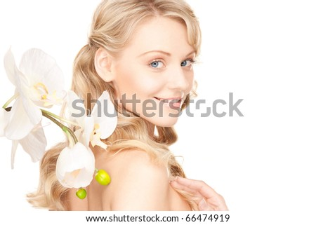 picture of beautiful woman with white flower
