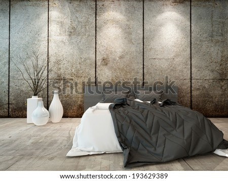 Picture of bedroom interior with bed in front of concrete wall - stock photo