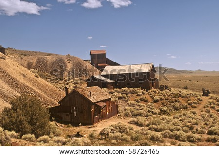 Picture of Berlin, Nevada, an old and historic mining ghost town found in Berlin Ichthyosaur State Park - stock photo