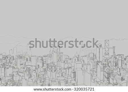 Picture of big city from a height, panorama takes in the future. Careless drawings - stock photo