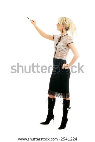 picture of blond businesswoman with pen over white - stock photo