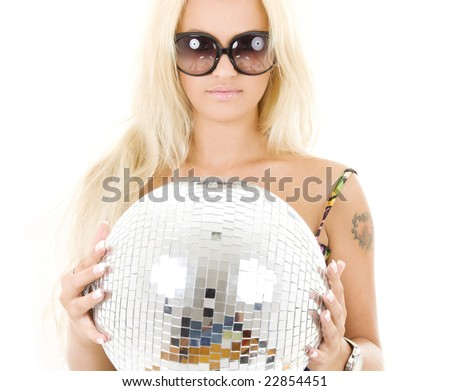 picture of blonde in big sunglasses with disco ball - stock photo