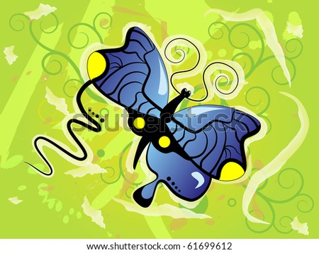 Picture of blue butterfly on green background
