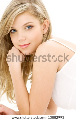 picture of blue-eyed blonde in white cotton underwear - stock photo