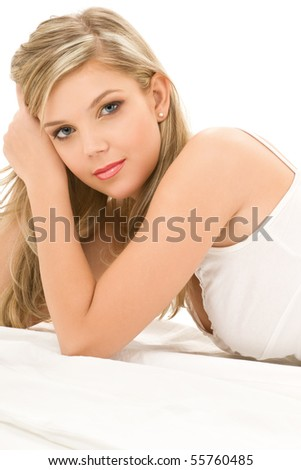 picture of blue-eyed woman in white cotton underwear - stock photo