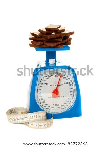 Picture of blue scale, bar of chocolate and measure tape isolated on white