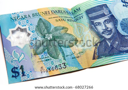 Picture of Bruneian currency - dollar - on a white background. - stock photo