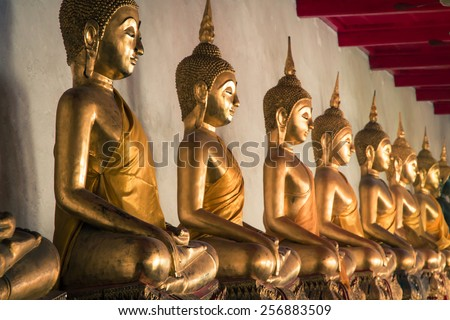 Picture of Buddha statue at Wat Pho temple. Bangkok, Thailand. - stock photo