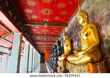 Picture of Buddha statue at Wat Pho temple. Bangkok, Thailand. - stock photo