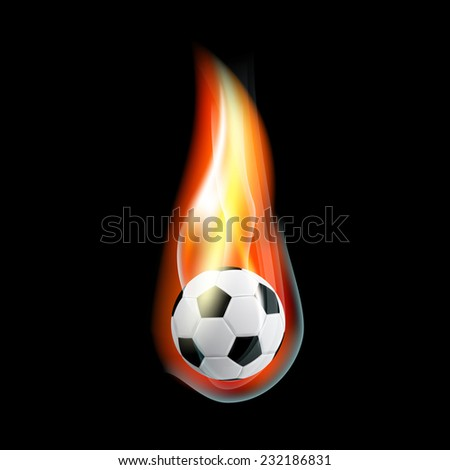 picture of burning soccer ball on black background - stock photo