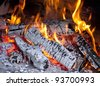 Picture of burning wood in fireplace - stock photo